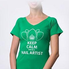 Tricou NailShop verde cu print - M