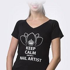 Tricou NailShop negru cu print - L