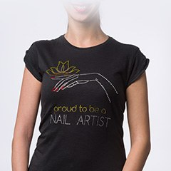 Tricou NailShop negru cu strasuri - M