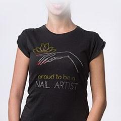 Tricou NailShop negru cu strasuri - L