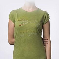 Tricou NailShop verde cu strasuri - L